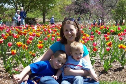 me, boys, flowers